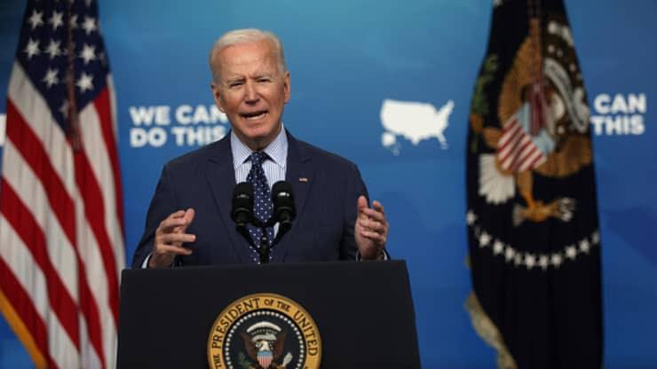 President Joe Biden speaks during an event
