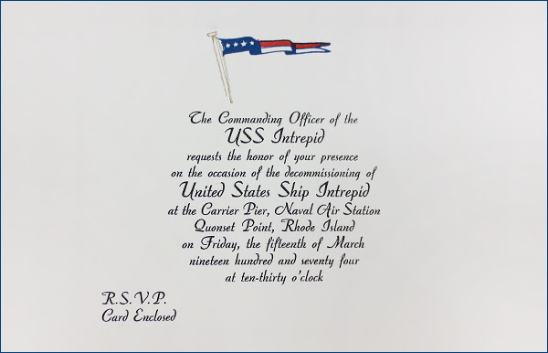 Decommissioning Ceremony Invitation