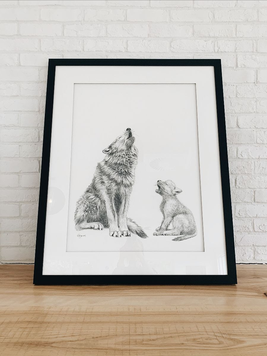 Maman louve et son louveteau