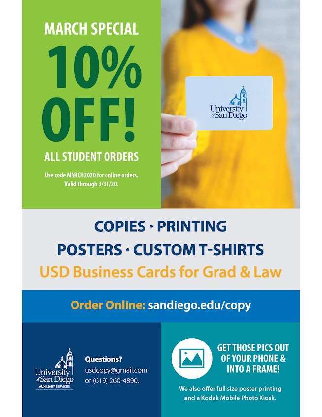 10% off at university copy for all student orders during the month of March