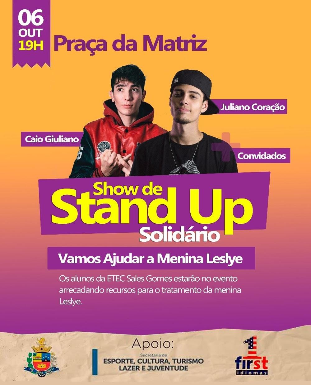 Show de Stand Up Solidário em Tatui dia 6