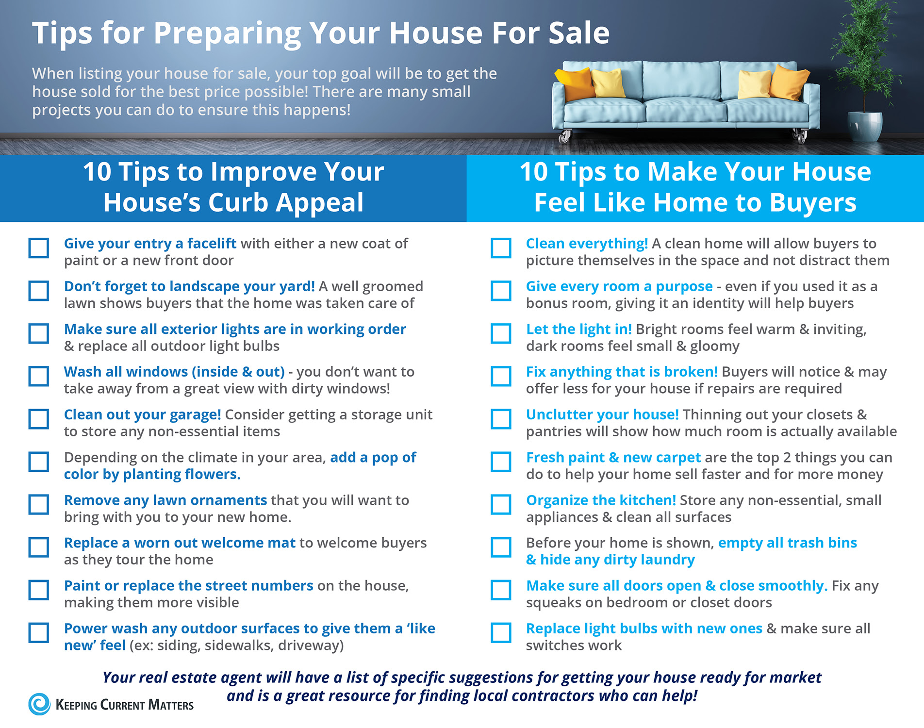 20 Tips for Preparing Your House for Sale [INFOGRAPHIC] | Keeping Current Matters