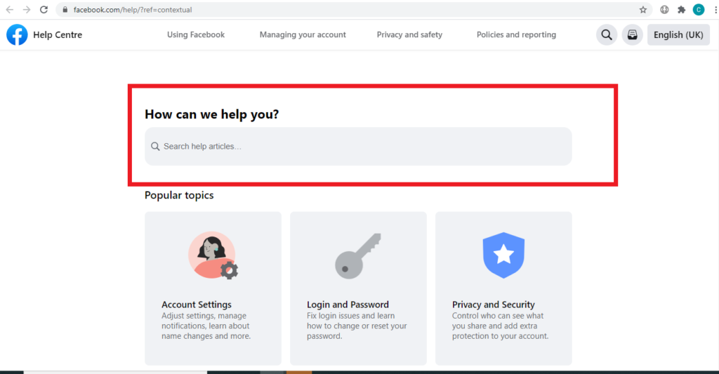 How to Contact Facebook support via Help Centre