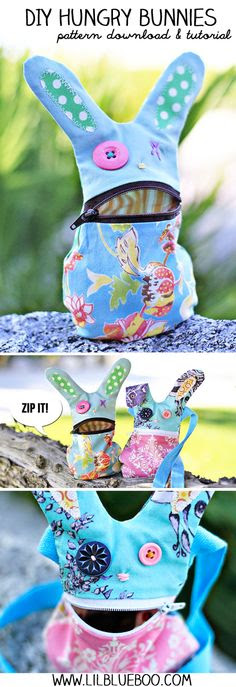 DIY Hungry Bunny Tutorial and Pattern Download via lilblueboo.com #easter #diy #bunny #pattern