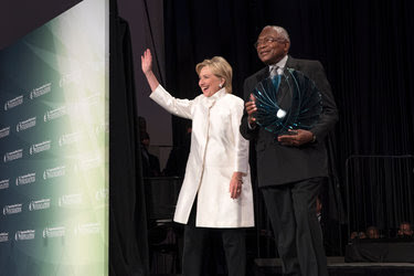 Hillary Clinton with Representative James E. Clyburn of South Carolina last month. Mr. Clyburn, the third-ranking House Democrat, called on Mrs. Clinton to help fund voter turnout efforts in congressional races.