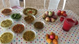 Un repas à base de sabra. Les Blum recommandent fortement leurs smoothies de sabra, faits en mélangeant les fruits dans un mixeur ou de nourriture, pour solliciter les graines, et servir froid (Crédit : Jessica Steinberg / Times of Israël)