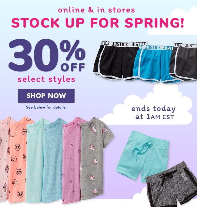Stock Up For Spring - 30% Off Select Styles!