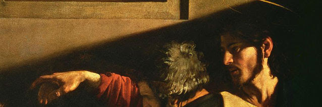 Image credit: The Calling of Saint Matthew (detail) by Caravaggio, 1599-1600. Chiesa di San Luigi dei Francesi, Rome, Italy.