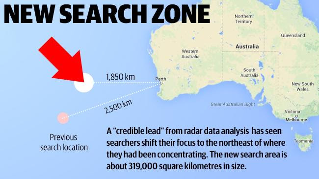 Latest development ... The new search zone for Malaysia Airlines flight MH370.