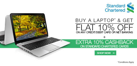 10% off + 10% Cashback on laptops