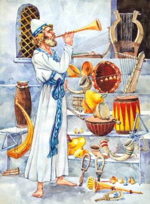 An illustration of a Levite playing a trumpet               in the midst of a selection of Temple instruments.