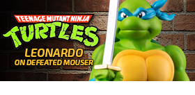 TMNT LEONARDO ON DEFEATED MOUSER LE STATUE
