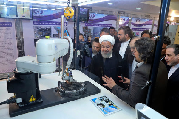 Hasán Rohaní en el Día Nuclear Nacional de Irán en 2018