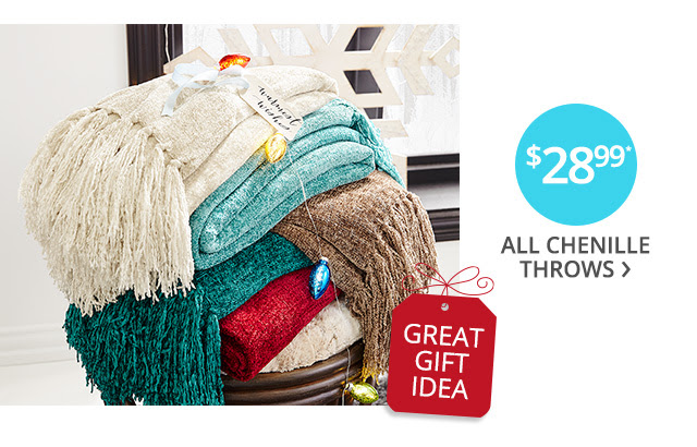 $28.99 all chenille throws.