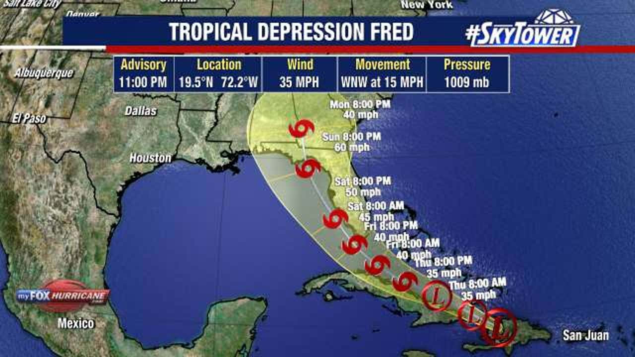 Fred is now a tropical depression. Will it remain a depression as it hits Florida?