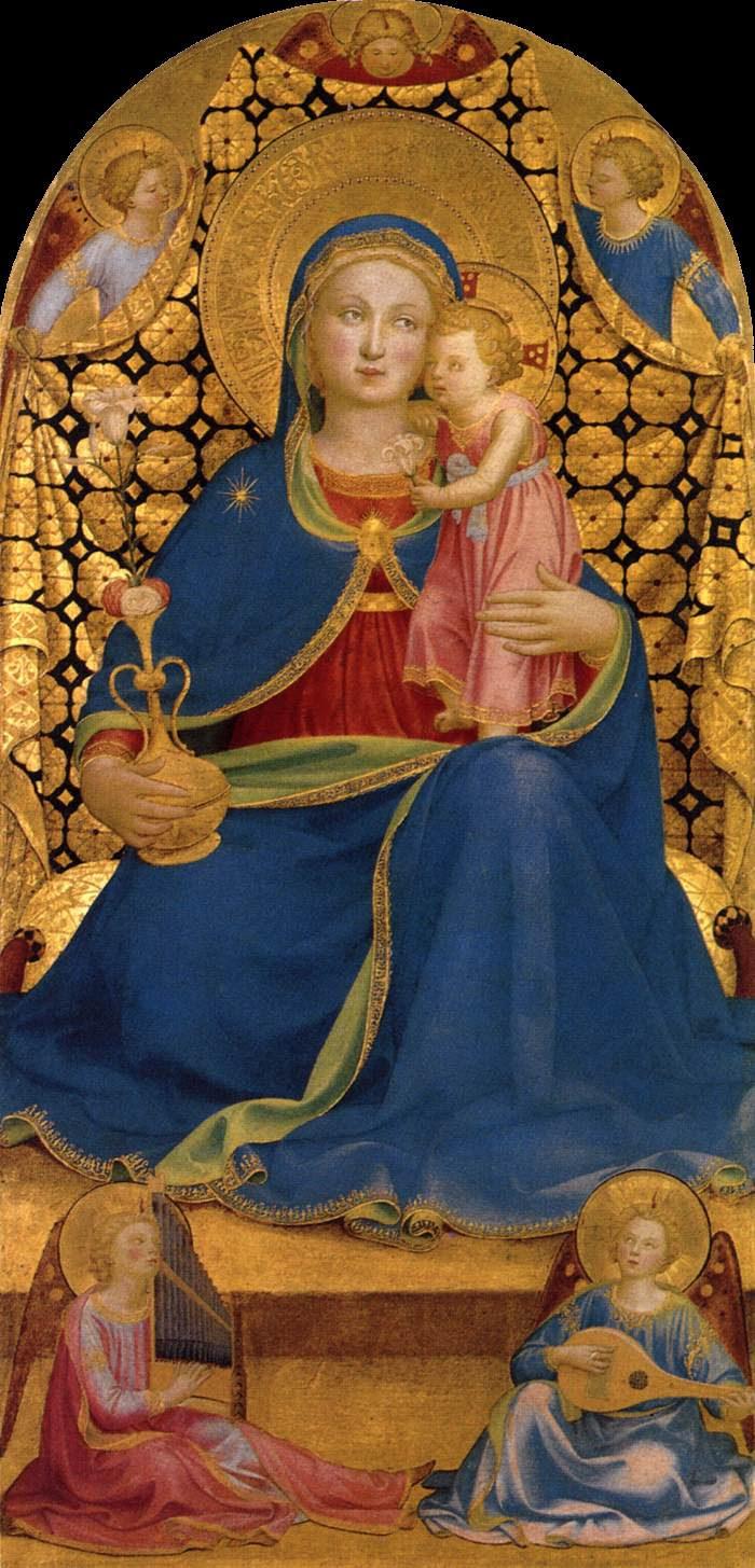 Virgen de la humildad, h. 1433-35, temple sobre tabla, 98,6 x 49,2 cm, Colección Thyssen-Bornemisza, en depósito en el Museu Nacional d'Art de Catalunya (MNAC).