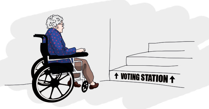 """Old woman in wheelchair facing stairs that have a sign saying """"Voting station"""""""