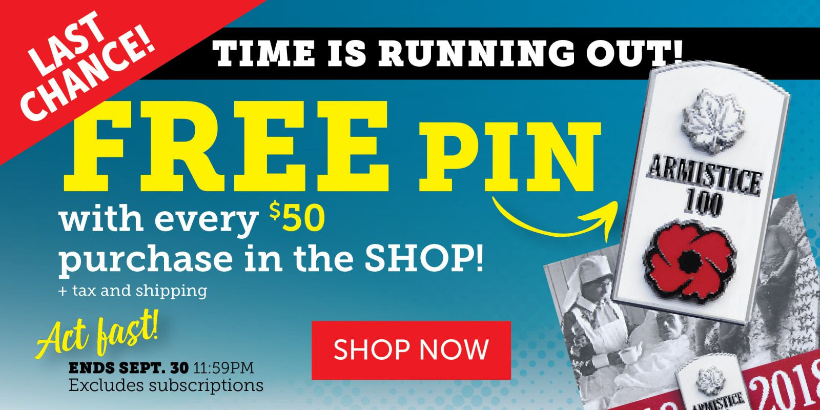 Free WW I Armistice Pin when you spend over $50!