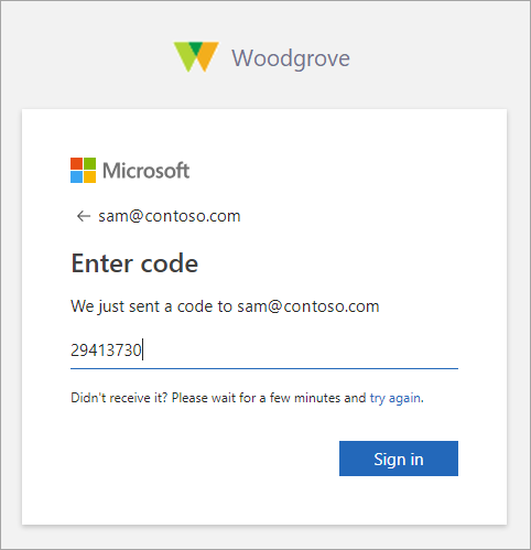 Screenshot showing the Enter code page