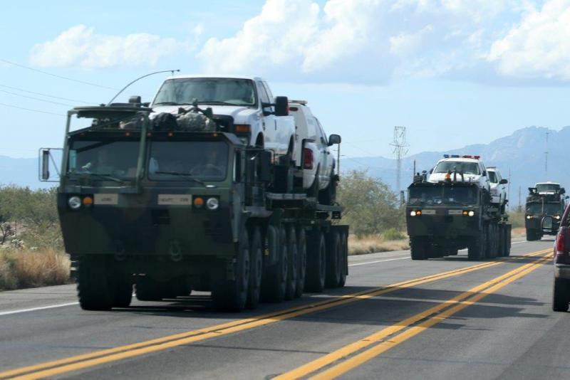 Members Of The Arizona National Guard Transported Border Patrol Vehicles From Ajo To Tucson Ariz
