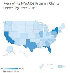 Ryan White HIV/AIDS Program clients served by state, 2015