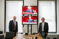 Peter Daou, left, and David Brock of Shareblue at its office in New York.