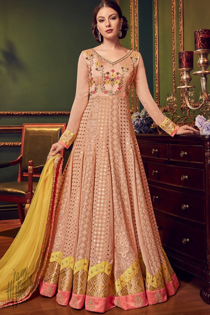 Peach and Yellow Swiss Georgette Anarkali Suit