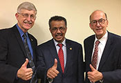 Francis Collins, Teros Adhanom Ghebreyesus and Roger Glass give a thumbs-up to the camera
