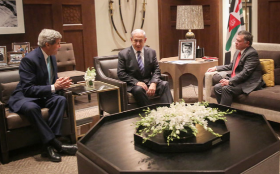 """""""His Majesty King Abdullah holds talks with Israeli Prime Minister Benjamin Netanyahu and US Secretary of State John Kerry in Amman on Thursday."""" (Photo courtesy of Royal Court/AFP/Jordan Times)"""