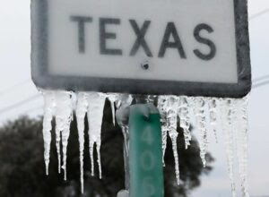 Texas sign with ice