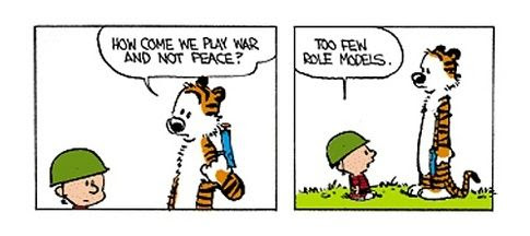 Image result for calvin and hobbes on war and peace