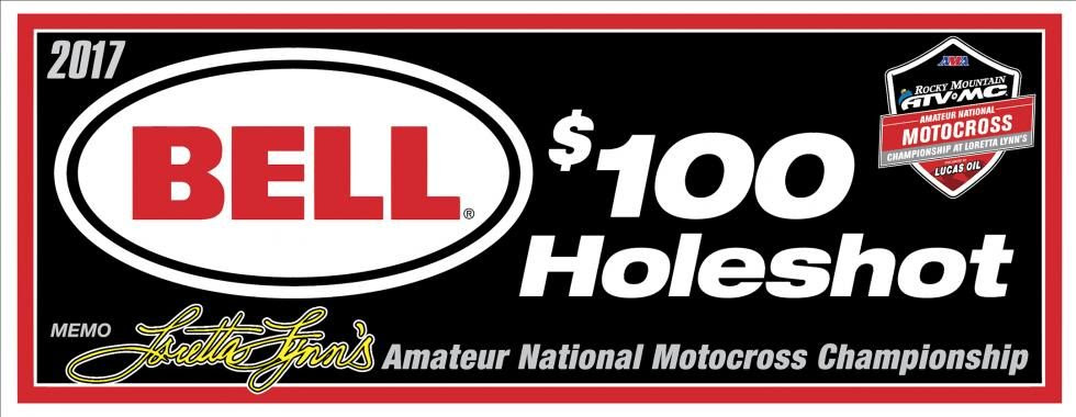 Bell will continue their support of the holeshot awards. With a total of 102 gate drops scheduled for 2017 at the Ranch, Bell will have $10,200 in gift certificates up-for-grabs the week of the national.