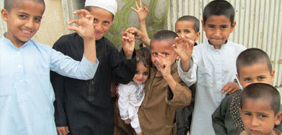 Photo of children vaccinated for polio