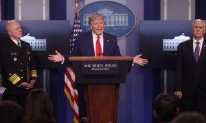 El presidente de EEUU, Donald Trump, durante una rueda de prensa. REUTERS
