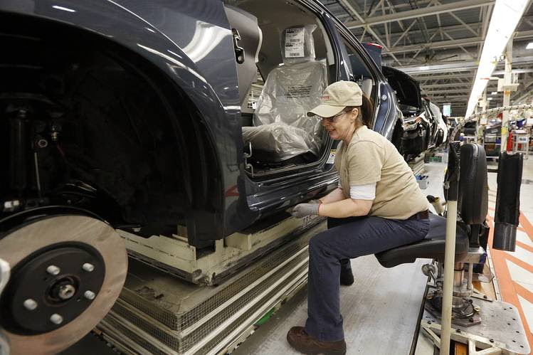 Some lawmakers and backers of Japanese car makers operating in the U.S. fear the president's free-trade push could hurt the economics of producing cars in the U.S., at little benefit to the Big Three. Here, a Toyota plant in Blue Springs, Miss., earlier this year.