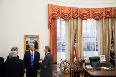 Donald J. Trump on Friday in the Oval Office replica at the Gerald R. Ford Presidential Museum in Grand Rapids, Mich.