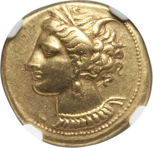Ancients: ZEUGITANA. Carthage. Ca. 320-270 BC. EL stater (19mm, 7.42 gm, 2h). NGC Choice XF ★ 5/5 - 4/5