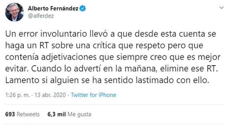 El tuit de disculpas de Alberto Fernández