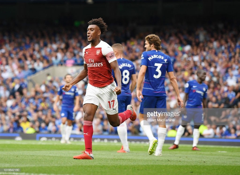 Alex Iwobi scored one and created another in his first-half madness against Chelsea in September 2018. (Getty Images)