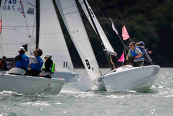 J/70s sailing off Cowes- Royal Yacht Squadron Bicentenary regatta