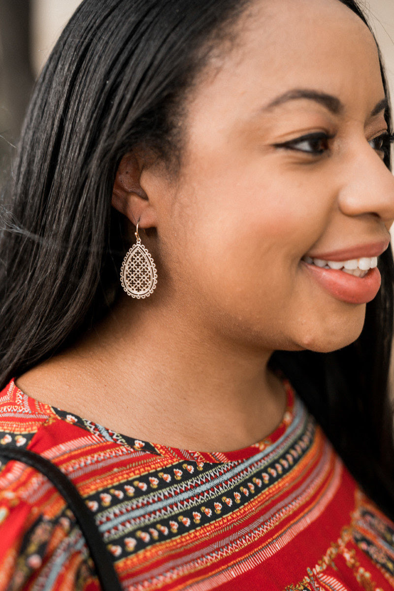 kenya denise wearing gold earrings from LOFT