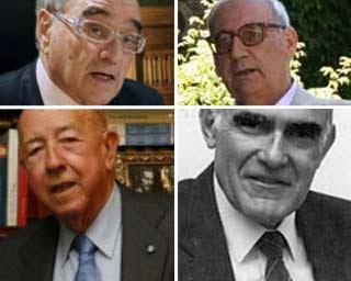 De izquierda a derecha y de arriba abajo, Martín Villa, Antonio Troncoso, José Utrera y Antonio Carro.
