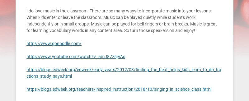 I do love music in the classroom. There are so many ways to incorporate music into your lessons....