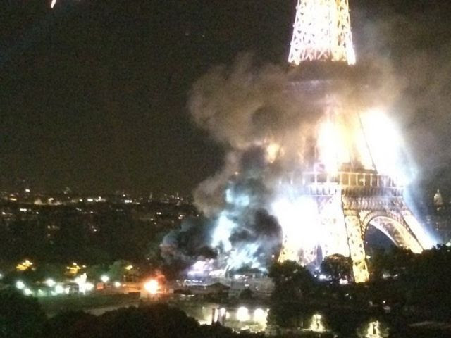 Eiffel Tower Engulfed in Flames Following Today's Terrorist Attack (Video)