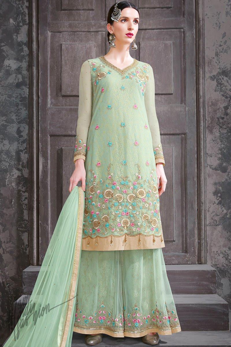 Mint Green Net Party Wear Palazzo Suit