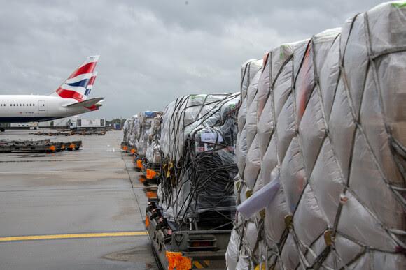 India relief flight pallets