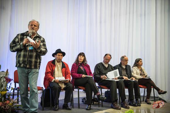 Declaraciones de João Pedro Stédile, Coordinación Nacional del Movimientos de Trabajadores sin Tierra de Brasil-CLOC Vía Campesina. Foto: Equipo de prensa EMMP.