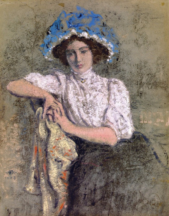 Seated Girl in a Blue Hat.1908 (546x700, 485Kb)