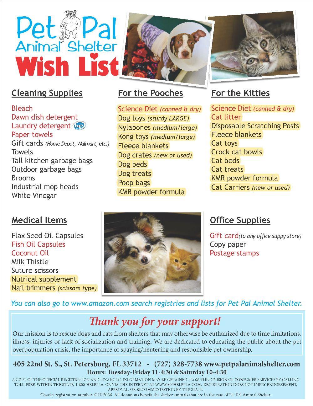Pet Pal Animal Shelter Wish List