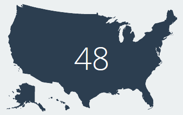 U.S. map with the number 48 overlaid